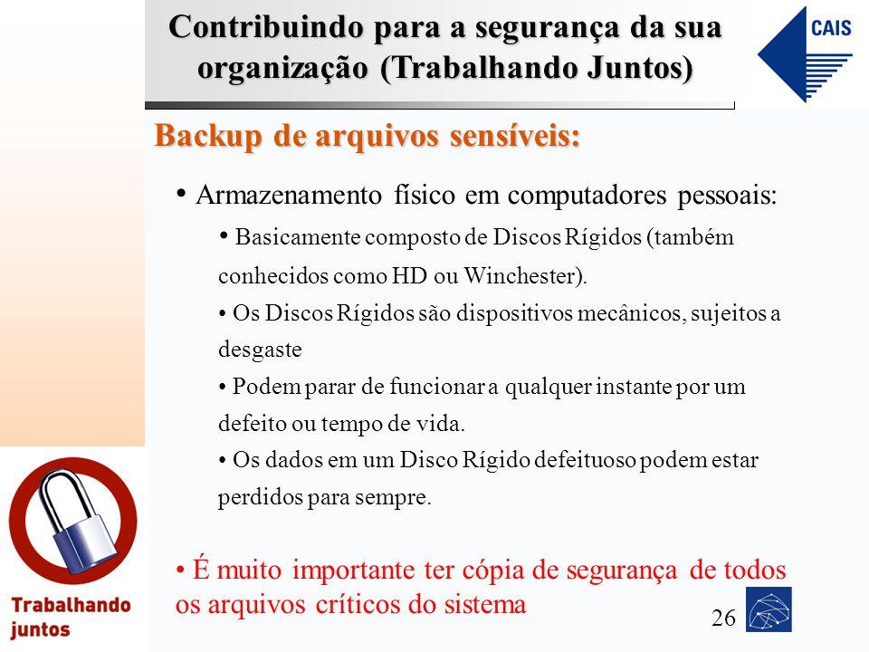 Contribuindo para a segurança da sua organização (Trabalhando Juntos) Backup de arquivos sensíveis: Armazenamento físico em computadores pessoais: Bas