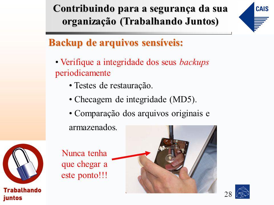 Contribuindo para a segurança da sua organização (Trabalhando Juntos) Backup de arquivos sensíveis: Verifique a integridade dos seus backups periodica