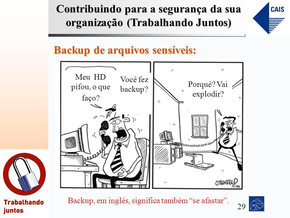 Contribuindo para a segurança da sua organização (Trabalhando Juntos) Backup de arquivos sensíveis: Meu HD pifou, o que faço? Você fez backup? Backup,