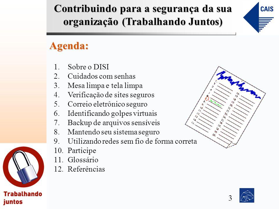 Contribuindo para a segurança da sua organização (Trabalhando Juntos) Agenda: 1.Sobre o DISI 2.Cuidados com senhas 3.Mesa limpa e tela limpa 4.Verific