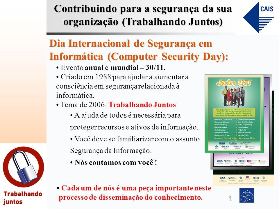 Contribuindo para a segurança da sua organização (Trabalhando Juntos) Dia Internacional de Segurança em Informática (Computer Security Day): Evento an