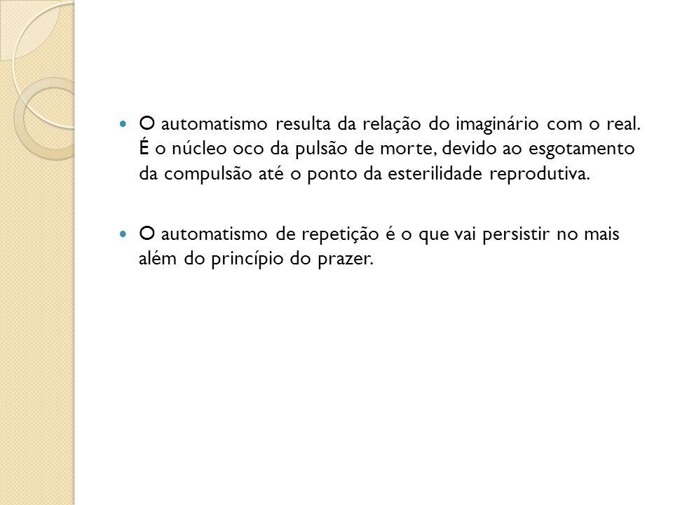 O automatismo resulta da relação do imaginário com o real. É o núcleo oco da pulsão de morte, devido ao esgotamento da compulsão até o ponto da esteri
