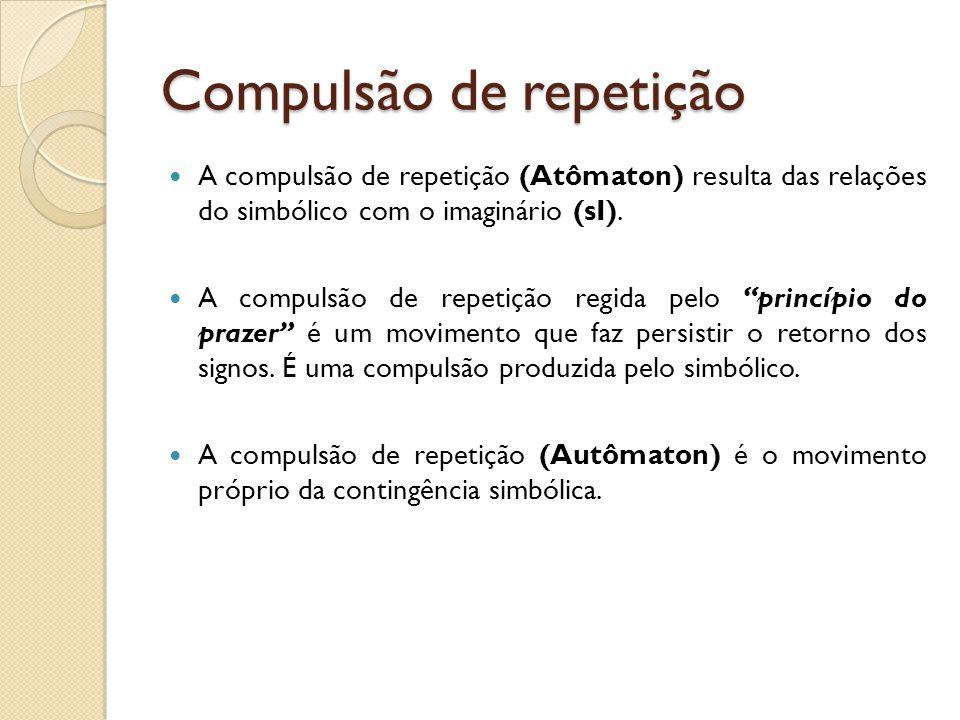 Compulsão de repetição A compulsão de repetição (Atômaton) resulta das relações do simbólico com o imaginário (sI). A compulsão de repetição regida pe