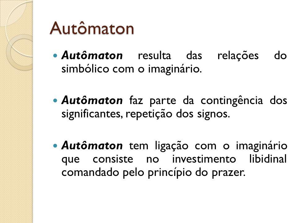 Autômaton Autômaton resulta das relações do simbólico com o imaginário. Autômaton faz parte da contingência dos significantes, repetição dos signos. A