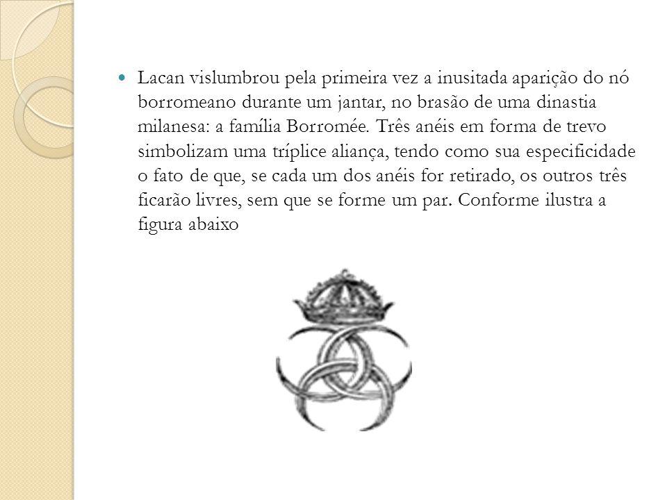Lacan vislumbrou pela primeira vez a inusitada aparição do nó borromeano durante um jantar, no brasão de uma dinastia milanesa: a família Borromée. Tr