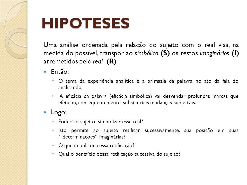 HIPOTESES Uma análise ordenada pela relação do sujeito com o real visa, na medida do possível, transpor ao simbólico (S) os restos imaginários (I) arr