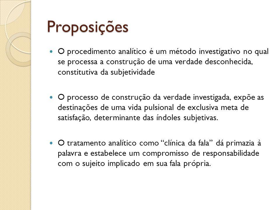 Proposições O procedimento analítico é um método investigativo no qual se processa a construção de uma verdade desconhecida, constitutiva da subjetivi