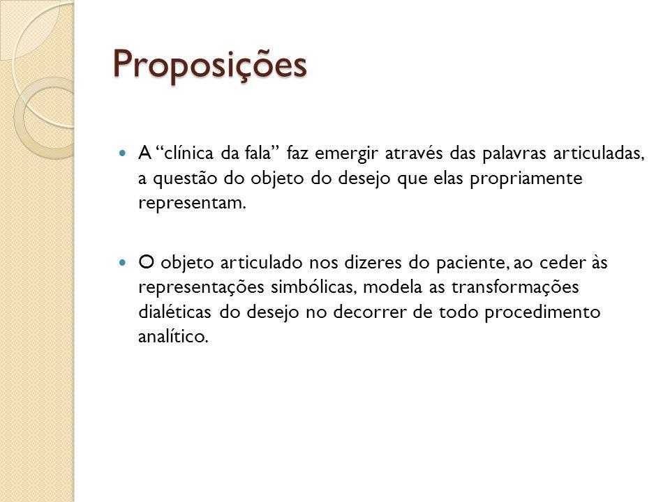 Proposições A clínica da fala faz emergir através das palavras articuladas, a questão do objeto do desejo que elas propriamente representam. O objeto