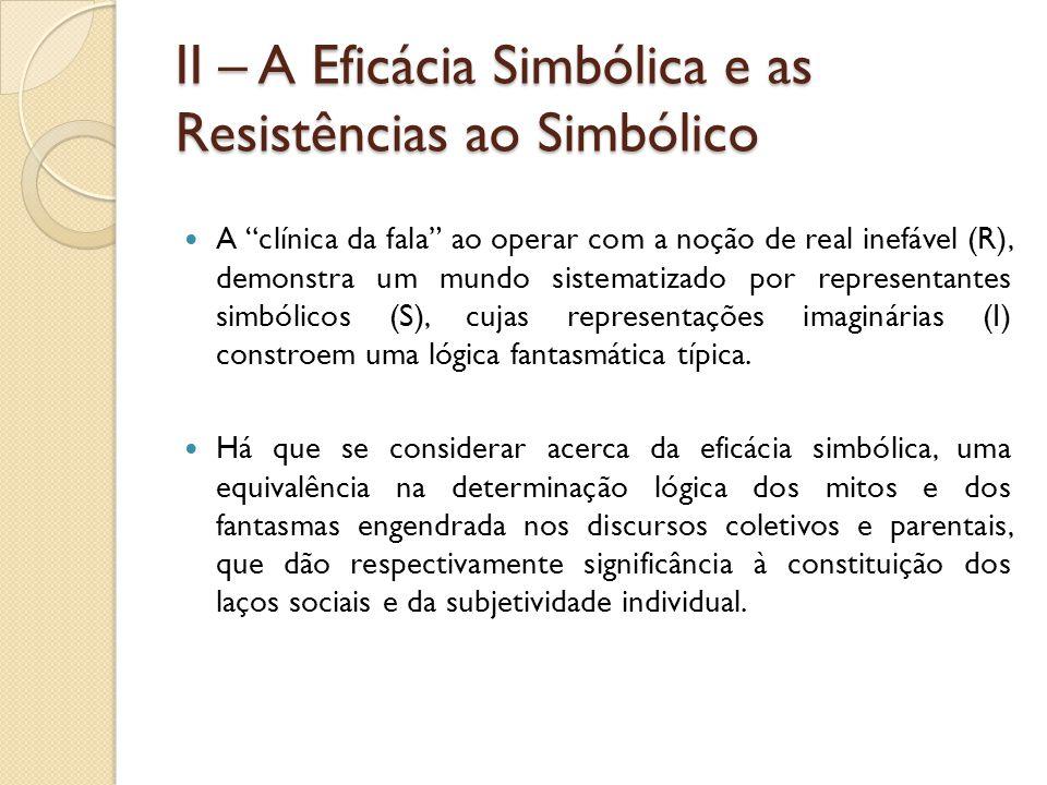 II – A Eficácia Simbólica e as Resistências ao Simbólico A clínica da fala ao operar com a noção de real inefável (R), demonstra um mundo sistematizado por representantes simbólicos (S), cujas representações imaginárias (I) constroem uma lógica fantasmática típica.
