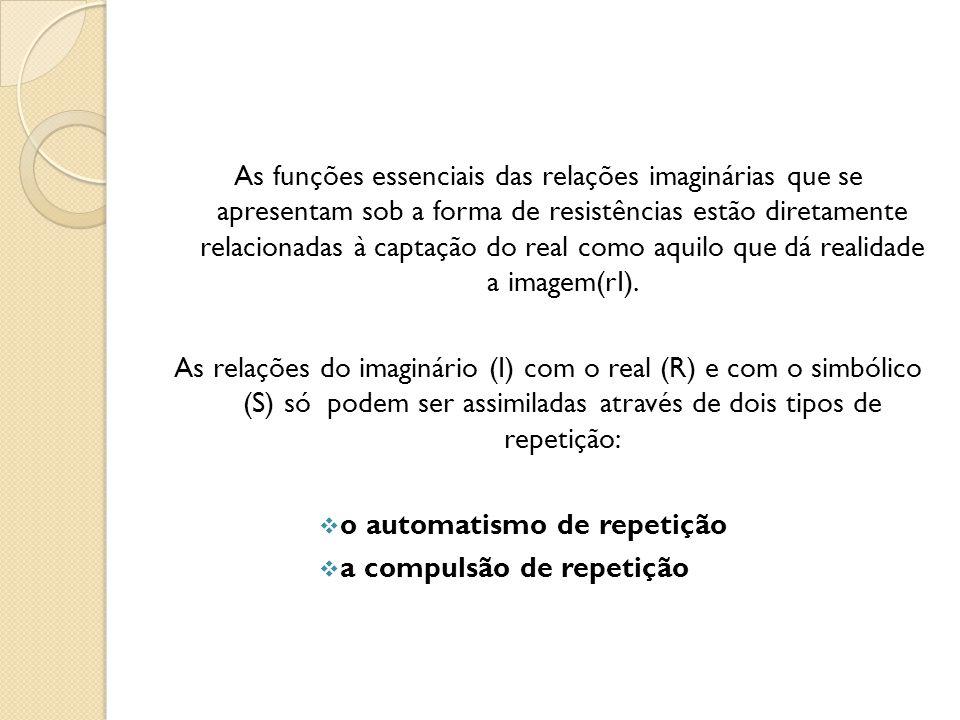 As funções essenciais das relações imaginárias que se apresentam sob a forma de resistências estão diretamente relacionadas à captação do real como aquilo que dá realidade a imagem(rI).