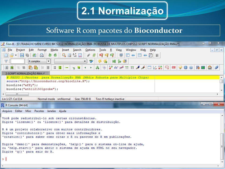 2.1 Normalização Software R com pacotes do Bioconductor
