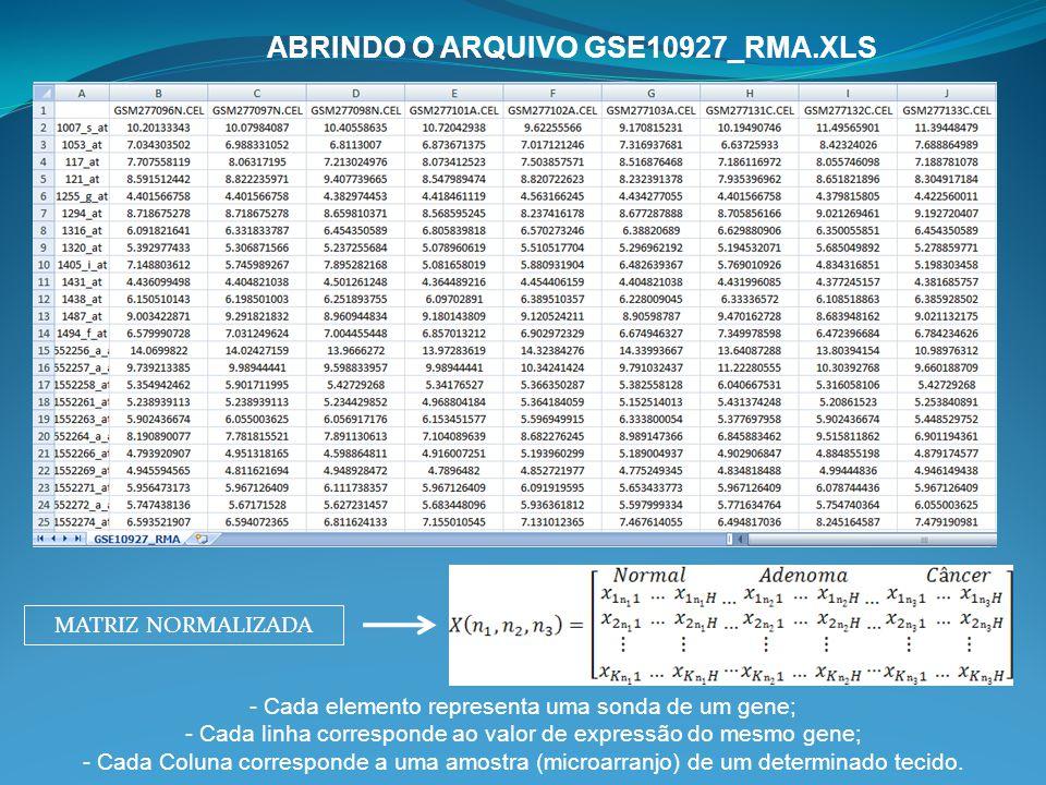 ABRINDO O ARQUIVO GSE10927_RMA.XLS MATRIZ NORMALIZADA - Cada elemento representa uma sonda de um gene; - Cada linha corresponde ao valor de expressão