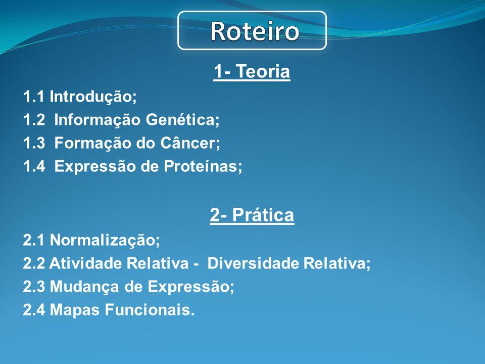 1- Teoria 1.1 Introdução; 1.2 Informação Genética; 1.3 Formação do Câncer; 1.4 Expressão de Proteínas; 2- Prática 2.1 Normalização; 2.2 Atividade Rela
