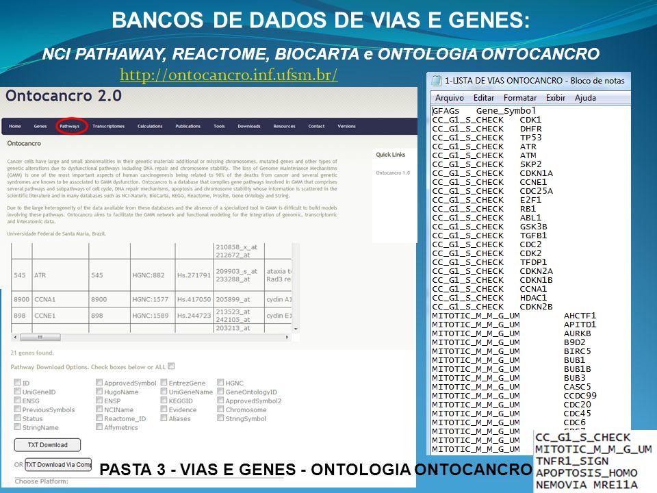 BANCOS DE DADOS DE VIAS E GENES: NCI PATHAWAY, REACTOME, BIOCARTA e ONTOLOGIA ONTOCANCRO http://ontocancro.inf.ufsm.br/ PASTA 3 - VIAS E GENES - ONTOL