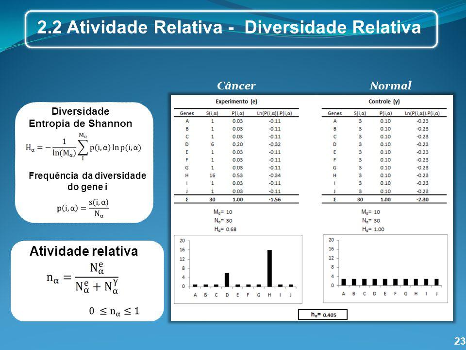 23 Diversidade Entropia de Shannon Frequência da diversidade do gene i Diversidade relativa 2.2 Atividade Relativa - Diversidade Relativa Câncer Norma