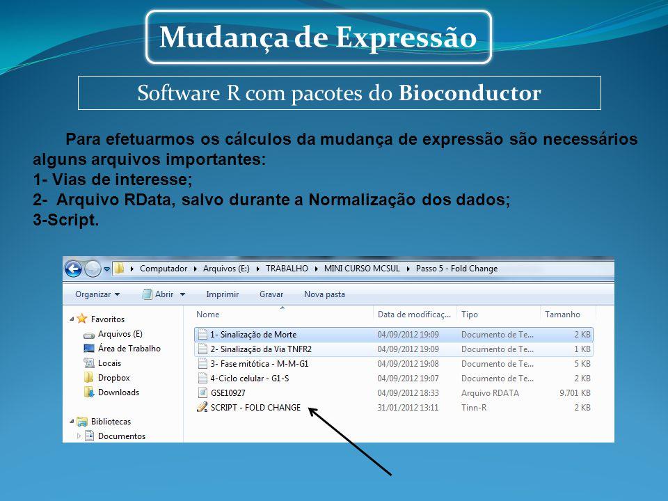Software R com pacotes do Bioconductor Mudança de Expressão Para efetuarmos os cálculos da mudança de expressão são necessários alguns arquivos import