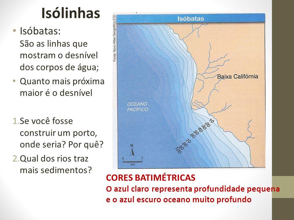 Isóbatas: São as linhas que mostram o desnível dos corpos de água; Quanto mais próxima maior é o desnível 1.Se você fosse construir um porto, onde seria.