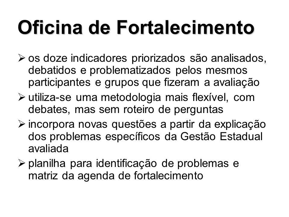 Oficina de Fortalecimento os doze indicadores priorizados são analisados, debatidos e problematizados pelos mesmos participantes e grupos que fizeram