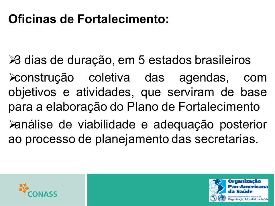 Oficinas de Fortalecimento: 3 dias de duração, em 5 estados brasileiros construção coletiva das agendas, com objetivos e atividades, que serviram de b