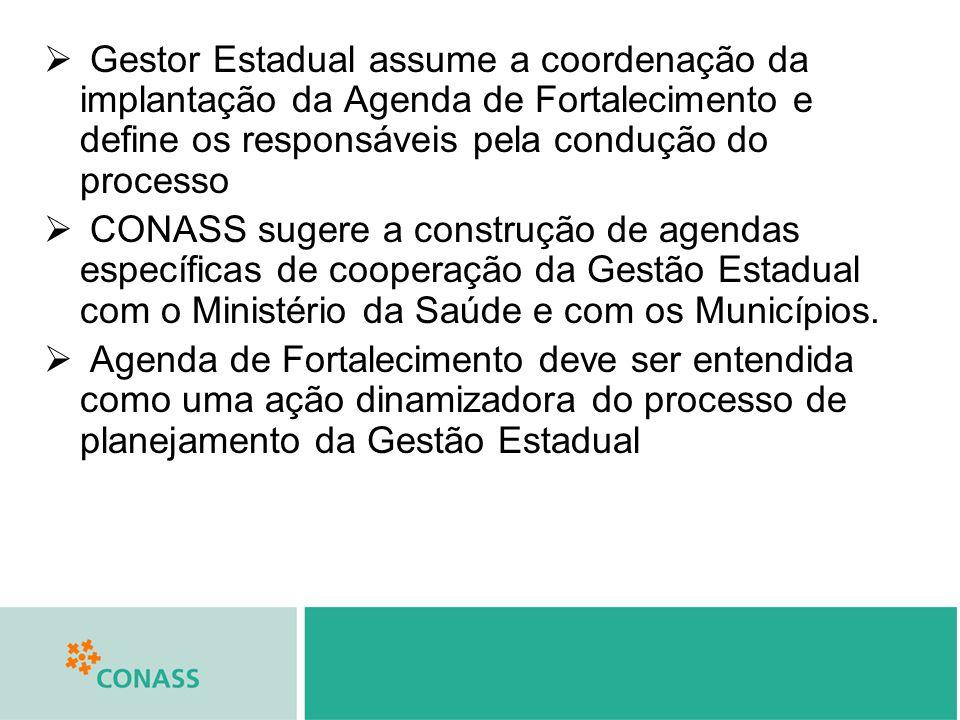 Gestor Estadual assume a coordenação da implantação da Agenda de Fortalecimento e define os responsáveis pela condução do processo CONASS sugere a con