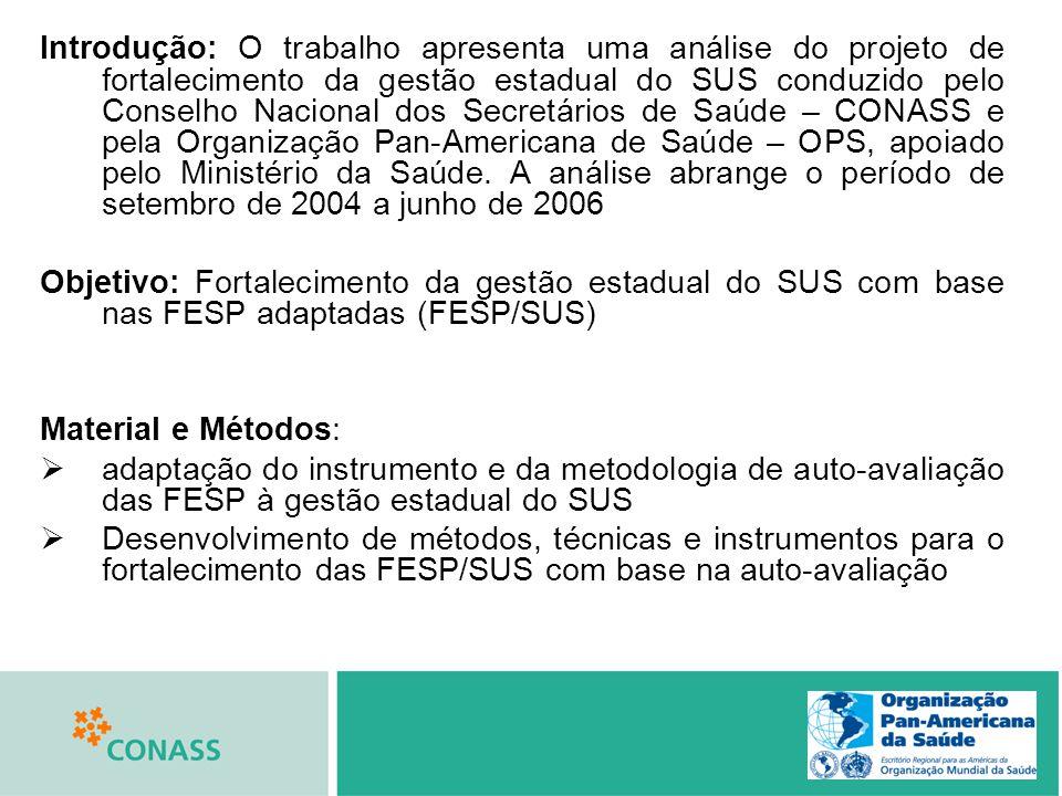 Introdução: O trabalho apresenta uma análise do projeto de fortalecimento da gestão estadual do SUS conduzido pelo Conselho Nacional dos Secretários d