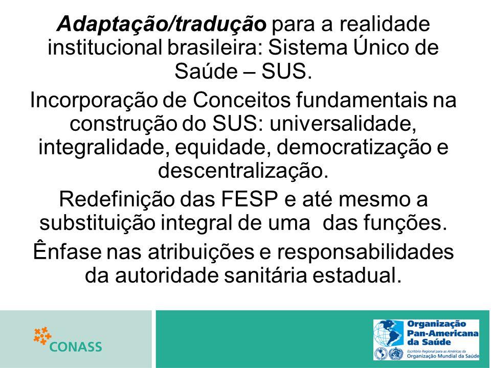 Adaptação/tradução para a realidade institucional brasileira: Sistema Único de Saúde – SUS. Incorporação de Conceitos fundamentais na construção do SU