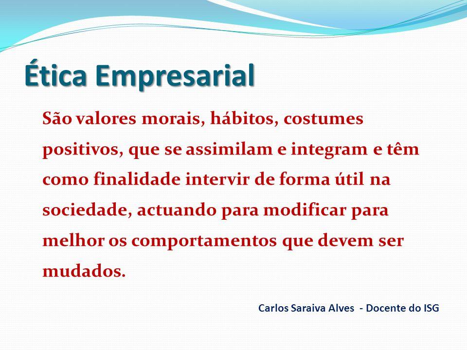 Ética Empresarial São valores morais, hábitos, costumes positivos, que se assimilam e integram e têm como finalidade intervir de forma útil na socieda