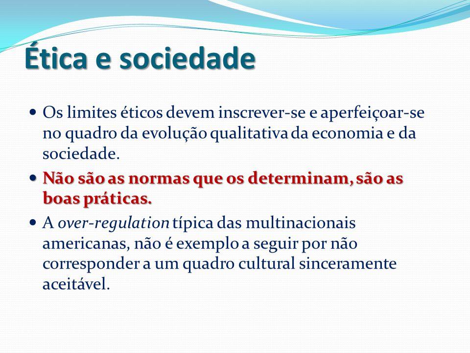 Ética e sociedade Os limites éticos devem inscrever-se e aperfeiçoar-se no quadro da evolução qualitativa da economia e da sociedade. Não são as norma