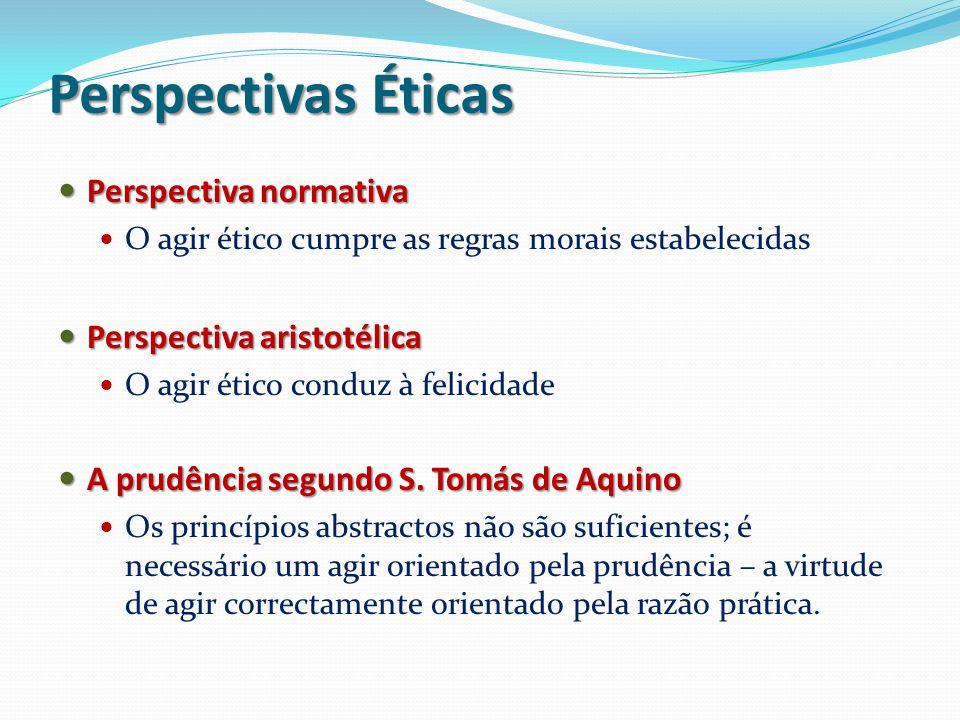 Perspectivas Éticas Perspectiva normativa Perspectiva normativa O agir ético cumpre as regras morais estabelecidas Perspectiva aristotélica Perspectiv