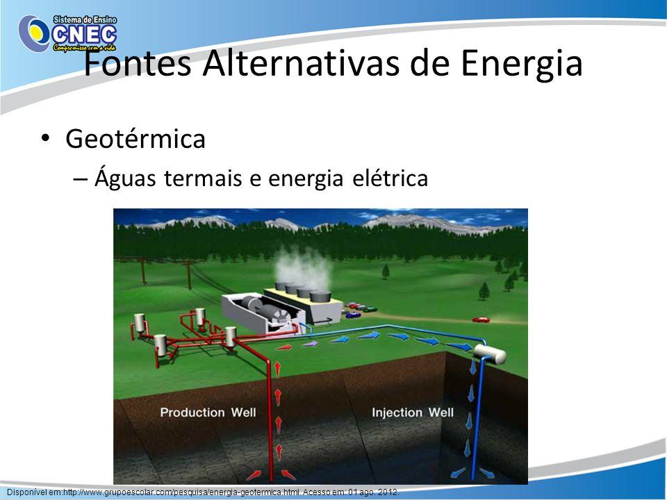 Fontes Alternativas de Energia Geotérmica – Águas termais e energia elétrica Disponível em:http://www.grupoescolar.com/pesquisa/energia-geotermica.htm