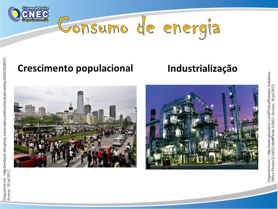 Crescimento populacional Industrialização Disponível em:. Acesso: 30 jul 2012.