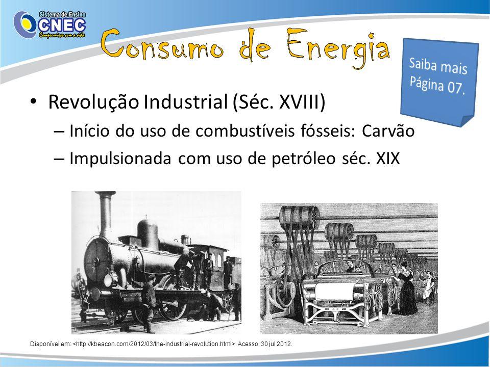 Revolução Industrial (Séc. XVIII) – Início do uso de combustíveis fósseis: Carvão – Impulsionada com uso de petróleo séc. XIX Disponível em:. Acesso: