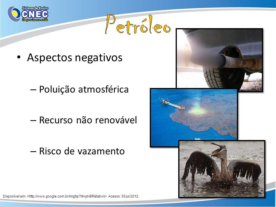 Aspectos negativos – Poluição atmosférica – Recurso não renovável – Risco de vazamento Disponível em:. Acesso: 30 jul 2012.