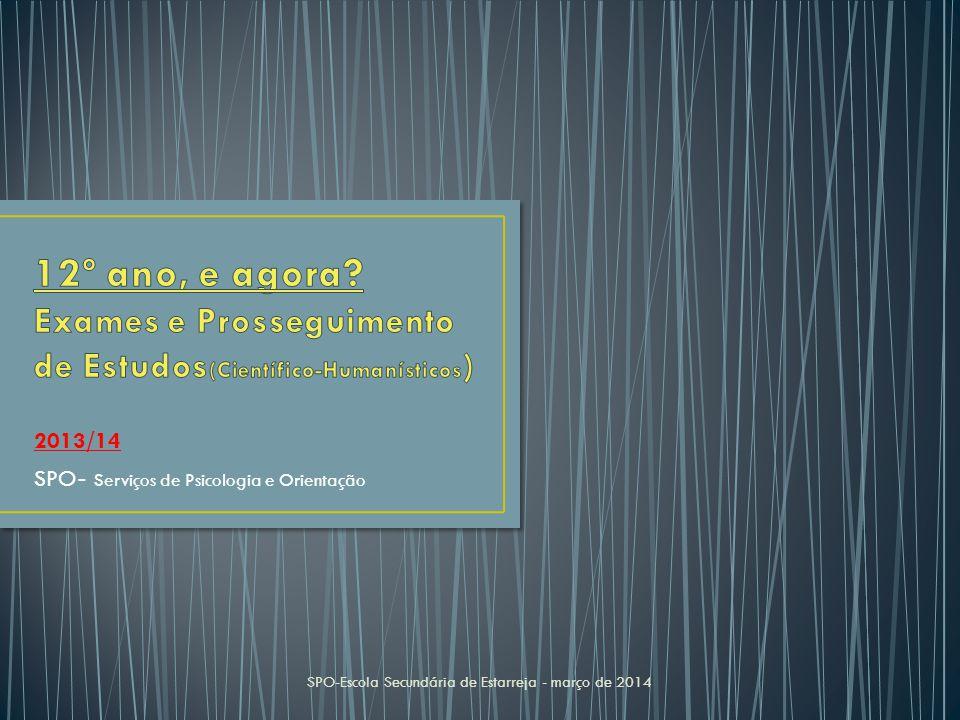 2013/14 SPO - Serviços de Psicologia e Orientação SPO-Escola Secundária de Estarreja - março de 2014