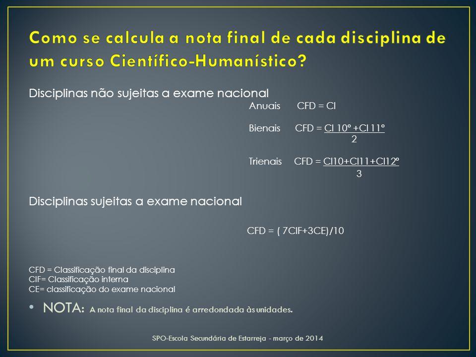 Disciplinas não sujeitas a exame nacional Anuais CFD = CI Bienais CFD = CI 10º +CI 11º 2 Trienais CFD = CI10+CI11+CI12º 3 Disciplinas sujeitas a exame nacional CFD = ( 7CIF+3CE)/10 CFD = Classificação final da disciplina CIF= Classificação interna CE= classificação do exame nacional NOTA: A nota final da disciplina é arredondada às unidades.