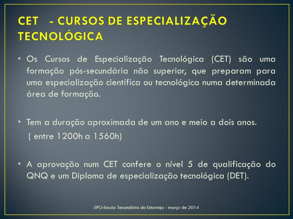 Os Cursos de Especialização Tecnológica (CET) são uma formação pós-secundária não superior, que preparam para uma especialização científica ou tecnológica numa determinada área de formação.