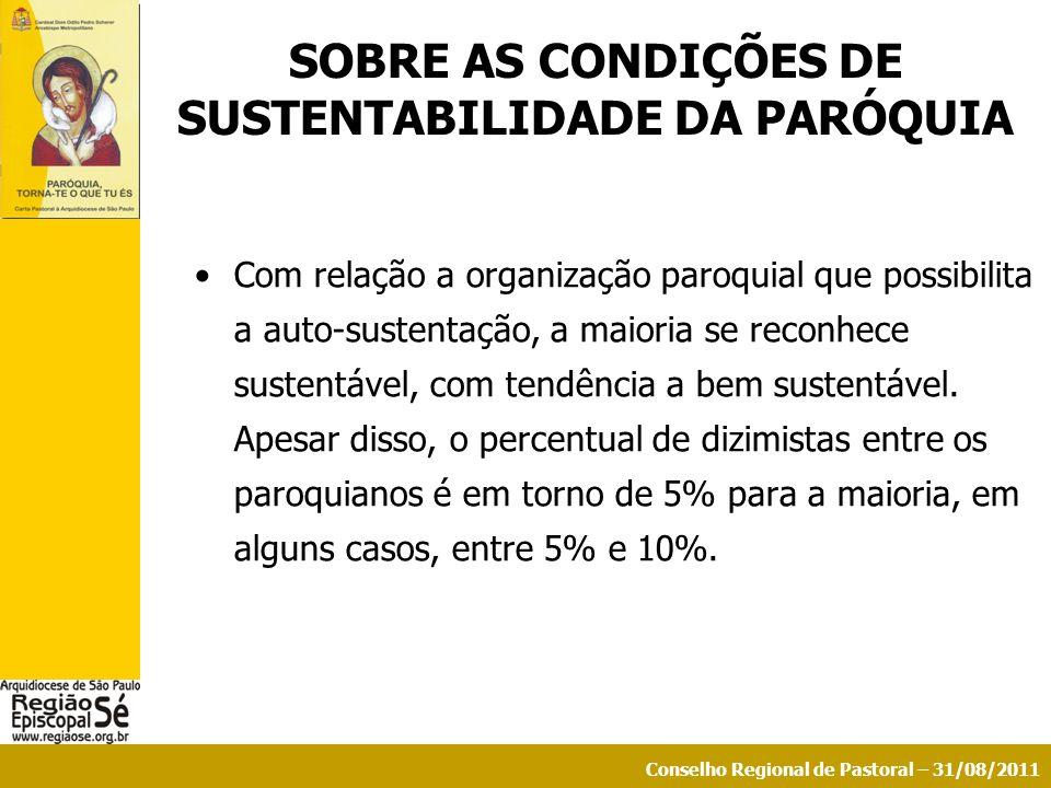 Conselho Regional de Pastoral – 31/08/2011 SOBRE AS CONDIÇÕES DE SUSTENTABILIDADE DA PARÓQUIA Com relação a organização paroquial que possibilita a au