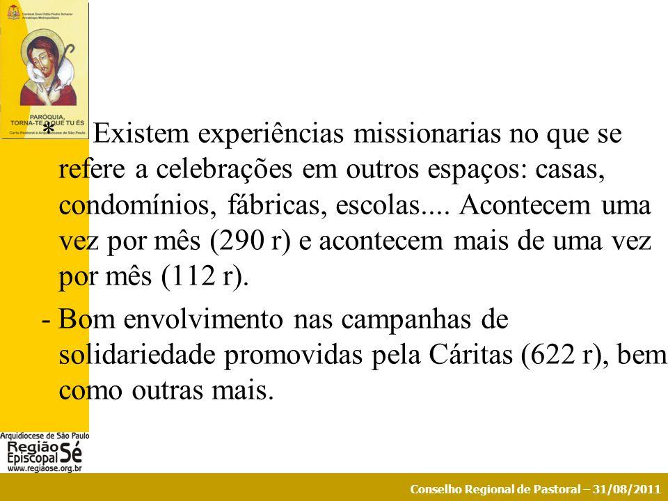 Conselho Regional de Pastoral – 31/08/2011 * Existem experiências missionarias no que se refere a celebrações em outros espaços: casas, condomínios, f