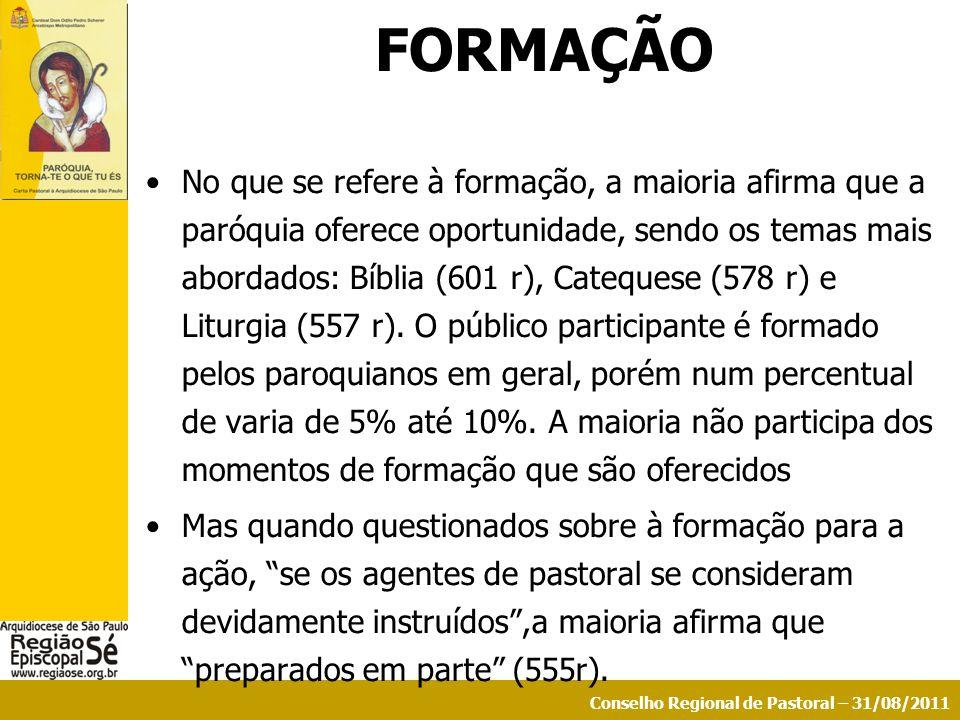 Conselho Regional de Pastoral – 31/08/2011 FORMAÇÃO No que se refere à formação, a maioria afirma que a paróquia oferece oportunidade, sendo os temas