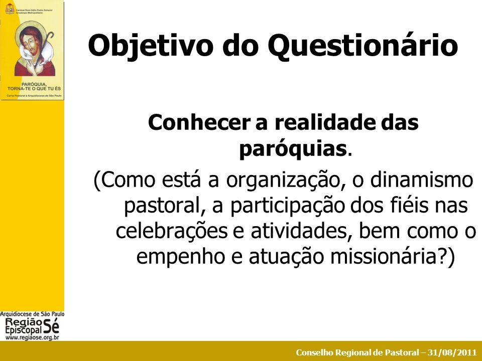 Conselho Regional de Pastoral – 31/08/2011 Objetivo do Questionário Conhecer a realidade das paróquias. (Como está a organização, o dinamismo pastoral