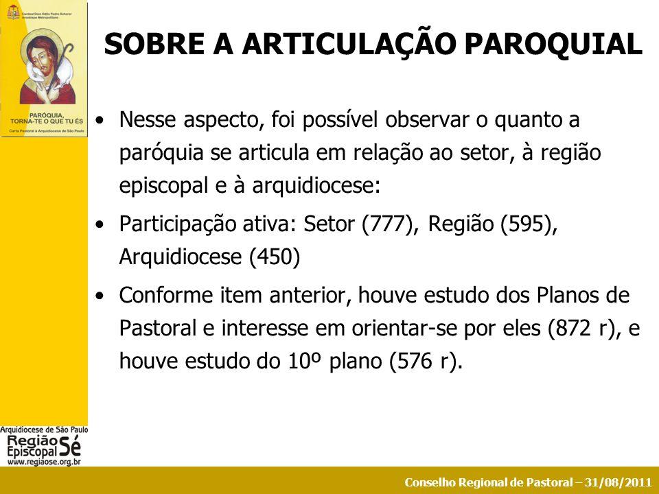 Conselho Regional de Pastoral – 31/08/2011 SOBRE A ARTICULAÇÃO PAROQUIAL Nesse aspecto, foi possível observar o quanto a paróquia se articula em relaç