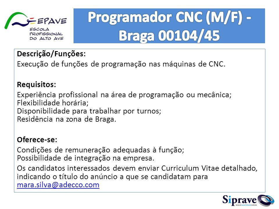 Descrição/Funções: Execução de funções de programação nas máquinas de CNC. Requisitos: Experiência profissional na área de programação ou mecânica; Fl