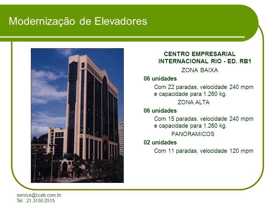 service@cceb.com.br Tel.: 21.3150 2515 Modernização de Elevadores CENTRO EMPRESARIAL INTERNACIONAL RIO - ED.