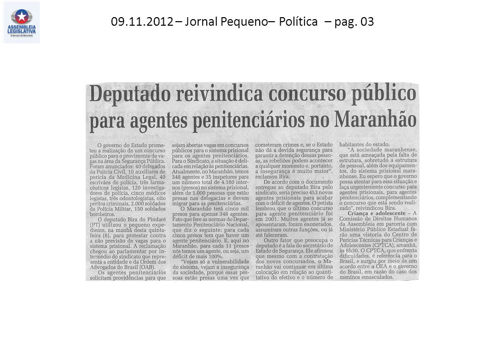 09.11.2012 – Jornal Pequeno– Variedades – pag. 09