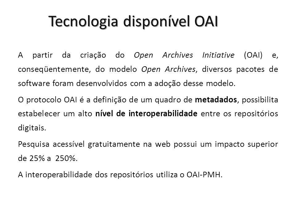 Tecnologia disponível OAI A partir da criação do Open Archives Initiative (OAI) e, conseqüentemente, do modelo Open Archives, diversos pacotes de soft