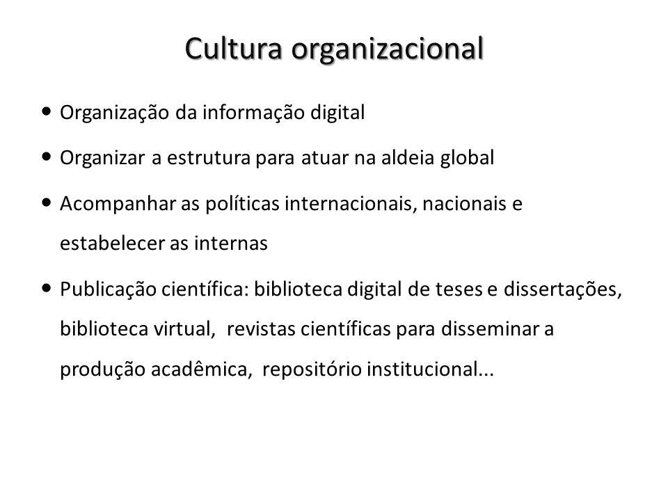 Cultura organizacional Organização da informação digital Organizar a estrutura para atuar na aldeia global Acompanhar as políticas internacionais, nac