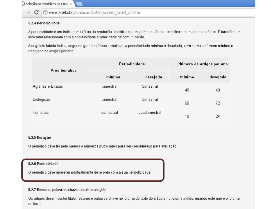 SciELO e a relação de títulos na área de Linguística, Letras e artes http://www.scielo.br/scielo.php?script=sci_subject&lng=pt&nrm=iso