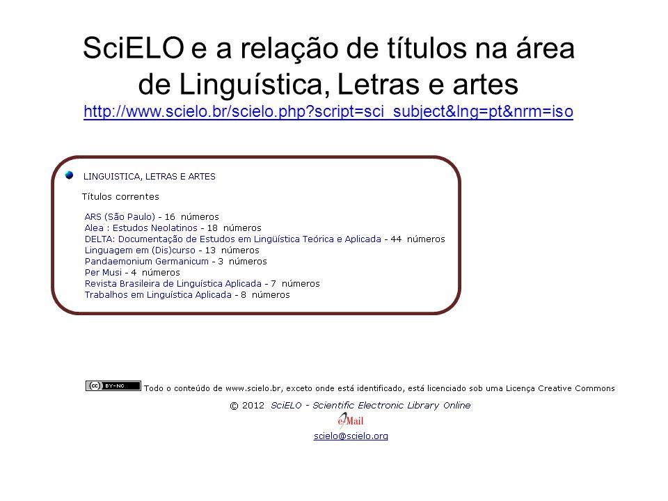 SciELO e a relação de títulos na área de Linguística, Letras e artes http://www.scielo.br/scielo.php script=sci_subject&lng=pt&nrm=iso