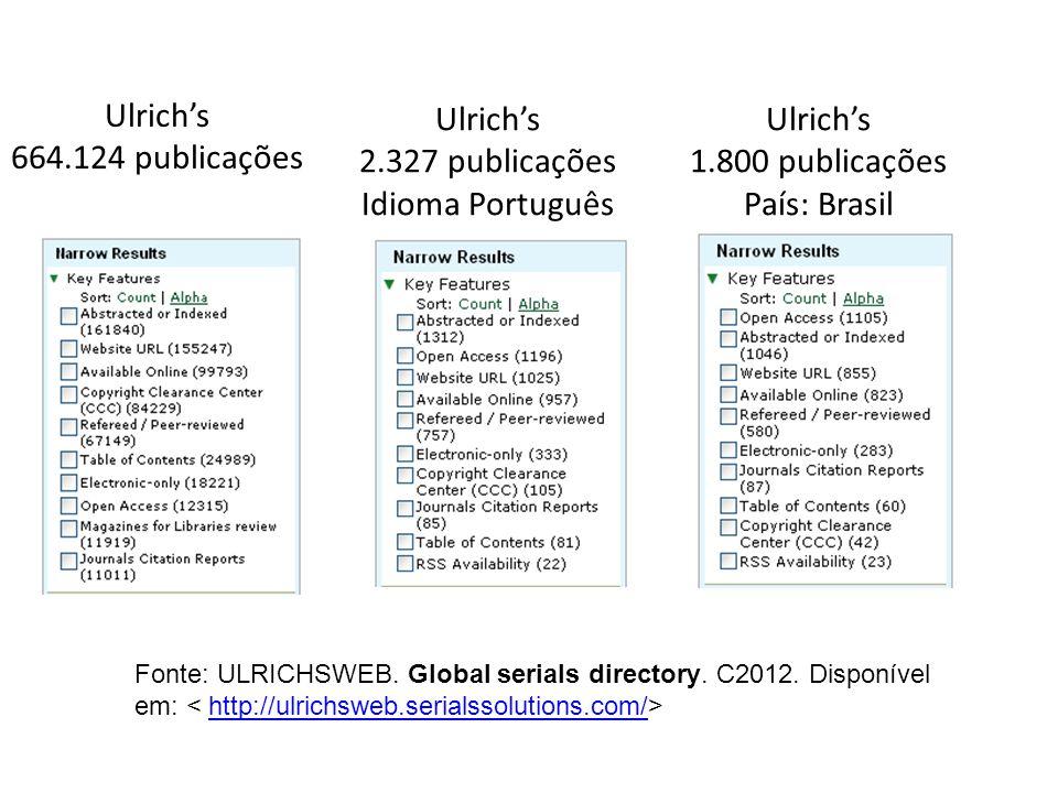 Ulrichs 664.124 publicações Ulrichs 2.327 publicações Idioma Português Ulrichs 1.800 publicações País: Brasil Fonte: ULRICHSWEB. Global serials direct