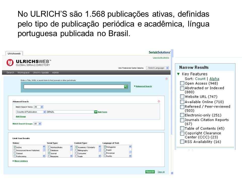 No ULRICHS são 1.568 publicações ativas, definidas pelo tipo de publicação periódica e acadêmica, língua portuguesa publicada no Brasil.